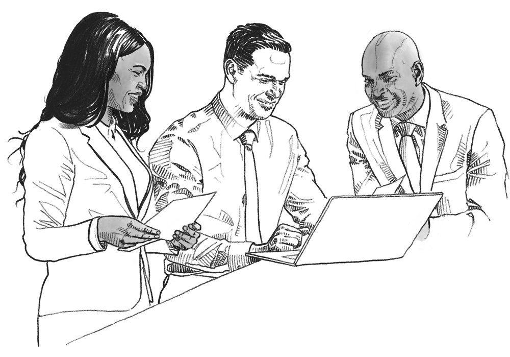 Illustration of employees conducting business