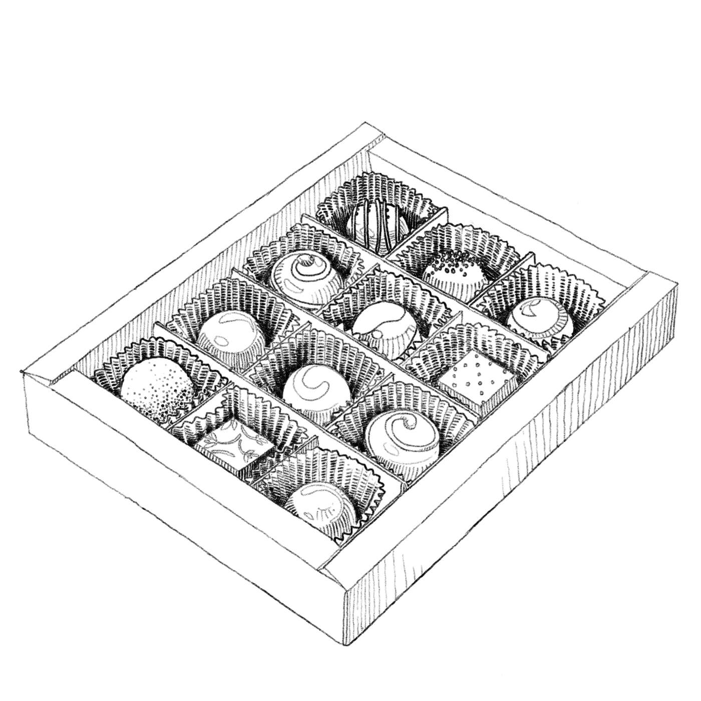 Illustrated box of chocolates