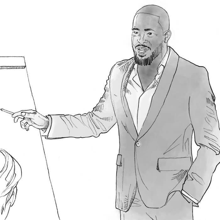 Man leading a presentation